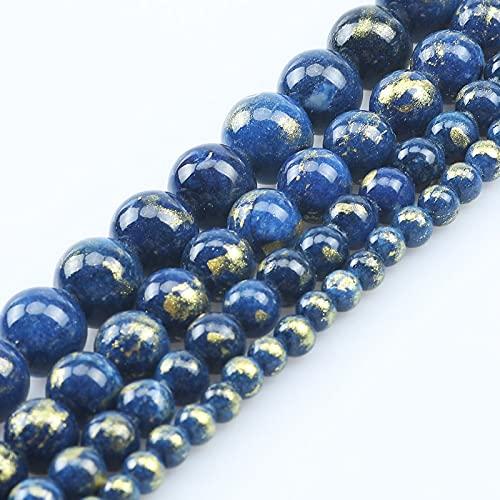 HUKGD 4 Mm-10 Mm Piedra Natural Azul Oscuro Color Dorado Jade Cuentas Sueltas Redondas para Hacer joyería DIY Collar de Pulsera 15 Pulgadas 6mm 61pcs Beads