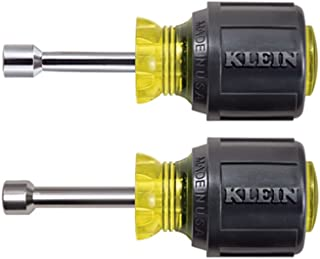 Klein Tools 610M Nut Driver, Stubby Set, Hex Sizes 1/4-Inch and 5/16-Inch, Hollow Shaft, Magnetic Tip, 2-Piece