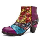 Socofy Botines De Cuero, Zapatos De Invierno De Cuero para Mujeres Botas Oxford Ocasionales Botines Cálidos con Botas De Bohemia Zapatos De Tacón De Cuero con Tacón, Talla 39