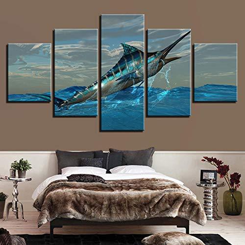 5 Piece Canvas Las Pinturas Decorativas Se Inyectan En Su Mayoría En La Pintura Del Mar Azul, Pistola, Sofá, Pared, Pintura Trasera, Pintura Principal 30*40Cm*2P 30*60Cm*2P30*80Cm*1P Sin Marcort-124