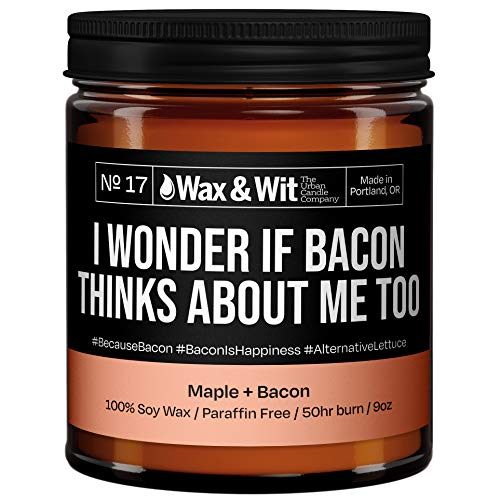 WAX & WIT Funny Candles - Scented Soy Candle Infused with Bacon and Maple - Great Gifts for Mom, Housewarming Gift, Gifts for Your Boss - (1) 9oz Glass Candle (Bacon)