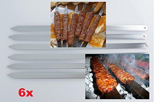 6x BBQ Grillspieße Spieße Adana Urfa Sis Hackfleischspieße/ LxB : 50cm x 2cm/ lebensmittelecht/ leichte Reinigung