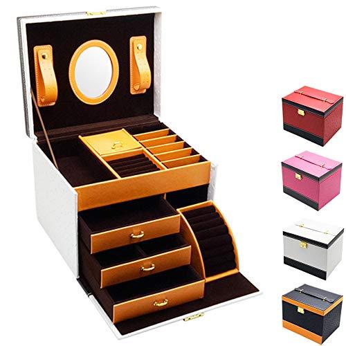 Caja de joyería, Caja de joyería portátil 24.3 * 19.5 cm, Caja de joyería portátil de Cuero PU, se Utiliza para Pulseras, Collares, Anillos, Horquillas,Blanco