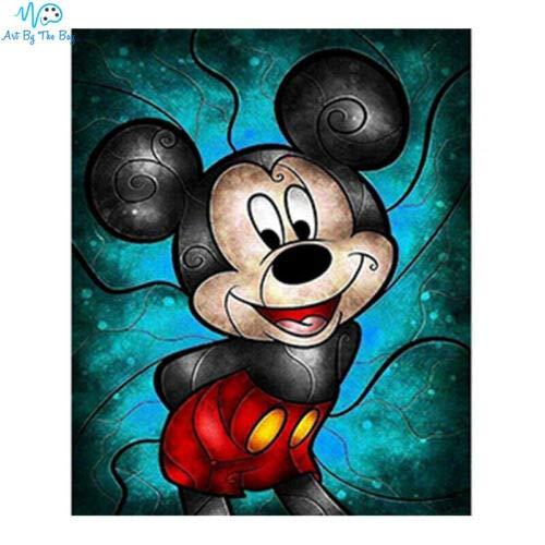 Mickey Mouse DIY 5D Kit de pintura de diamante cuadrado Disney azul vidriera 70cm x 80cm 1 color