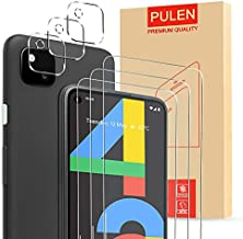 [6 in 1] PULEN Google Pixel 4a Screen Protector (3 Pack) with 3 Packs Camera Lens Protector,HD Clear Bubble Free Easy Installation Anti-fingerprints 9H Hardness Tempered Glass