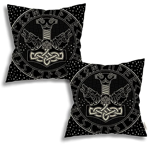 2 Pack Thors Hammer Celtic Norse Mjollnir Scandinavian Runes And Two Wolfs Stars Throw Pillow Covers Linen Cases Square Decorative Cushion Covers Pillowcase Cushion Case For Sofa,Couch 18X18 Inches