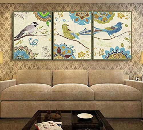 Incorniciato 3x Dipinto ad olio con numeri Trittico animale Immagine da colorare modulare Unicorno Pittura astratta Fiore Adesivo murale-30cmx40cmx3pc_F