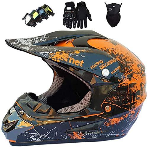 Casco de moto para niños,Conjunto de casco integral MTB,Casco todoterreno para Dirt Bike MX ATV Scooter Bicicleta de montaña con gafas Guantes Máscara,Certificación DOT & ECE,naranja