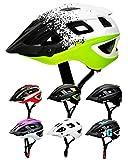 SkullCap Casco Bici Adulto, Casco Bicicleta para montaña, Casco MTB Hombre y Mujer, tamaño M (55-58 cm), Color: Blanco Negro Verde