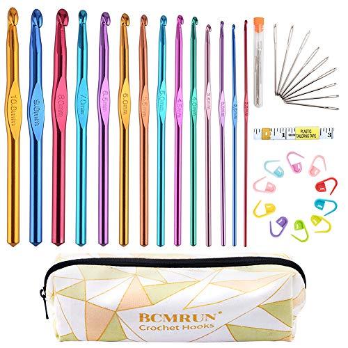 BCMRUN Juego de ganchos de ganchillo, 14 tamaños, 2 mm (B) -10 mm (N), kit de agujas de tejer ergonómicas de aluminio con estuche, juego de manualidades, aguja de ganchillo, el mejor regalo