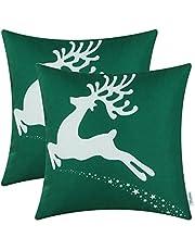 عبوة من 2 غطاء وسادة من القماش الناعم من CalTime للأريكة وديكور المنزل عطلة عيد الميلاد المجيد مع طباعة نجوم