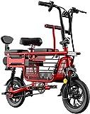 Bicicletas Eléctricas, Bicicleta eléctrica para adultos 3 plazas de bicicleta eléctrica Scooter de bicicleta 48V batería de litio con asiento para niños Cesta de almacenamiento Cesta de explosiones de