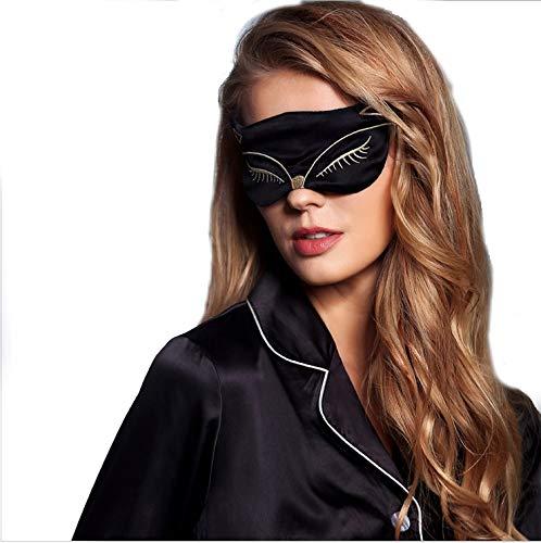 LA FERANI - 100% Seide Schlafmaske, Augenmaske Schwarz 100% hautfreundlich, Schlafbrille Katze Motiv für Frauen Damen blickdicht (Schwarz)