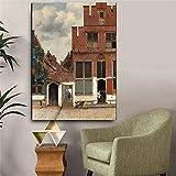 KWzEQ Decoración del hogar en la Famosa Calle de Lona y Escritura de Pintura al óleo Mural de Mujer y mucama,Pintura sin Marco,60x90cm
