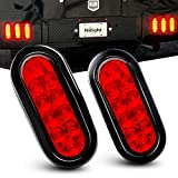 Nilight - TL-01 6' Oval Red LED Tail 2PCS w/Surface Mount Grommets Plugs IP65 Waterproof Stop Brake Turn Trailer Lights for RV Truck Jeep, 2 Years Warranty