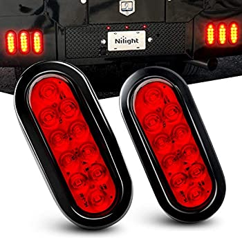 Nilight - TL-01 6  Oval Red LED Tail 2PCS w/Surface Mount Grommets Plugs IP65 Waterproof Stop Brake Turn Trailer Lights for RV Truck Jeep 2 Years Warranty