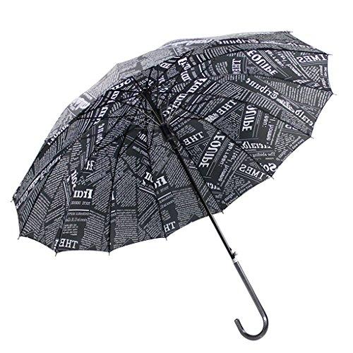 Edge to Lange Griff Zeitung Umbrella Gerade Bend zum Leder Griff Regen Und Regen Dual Use Britischen Retro Wind Regenschirm