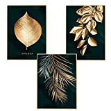 Martin Kench 3er Set Design-Poster Wandbilder, Wald Goldene