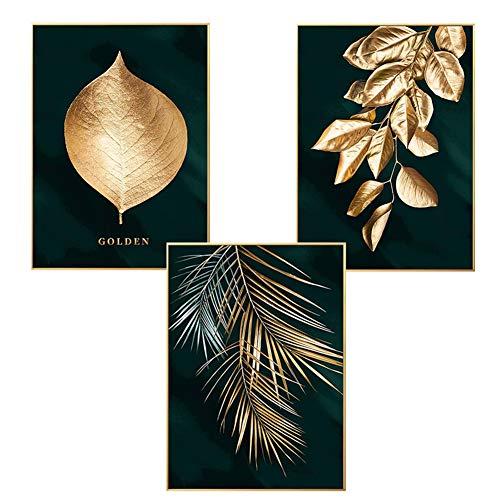 Martin Kench 3er Set Design-Poster Wandbilder, Wald Goldene Blätter Palmblatt, Ohne Rahmen, Wandbild Print Bilder Kunstposter Deko für Wohnzimmer (Stil A,60 x 90 cm)