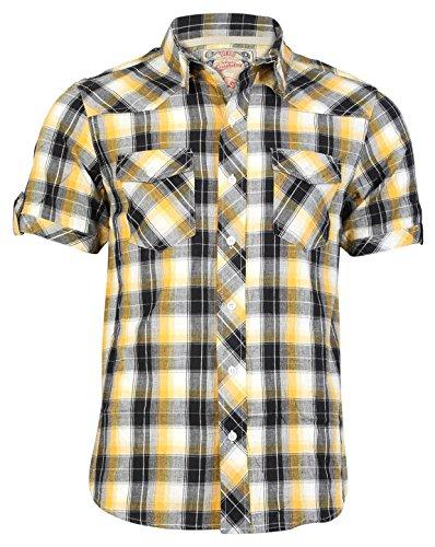 Tokyo Laundry Herren Kariertes Hemd Maryland Hochkragen Kurzärmelig Kariert Top - Gelb, M
