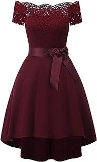 ReooLy Frauen Formale Mini Spitze Chiffon Dress Prom Abend Party Cocktail Brautjungfer Kleid