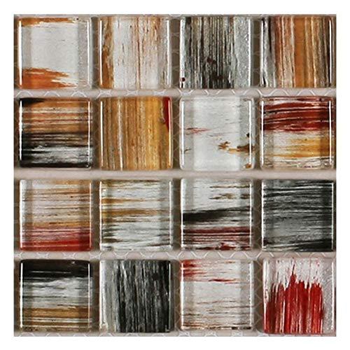 liuwei Pegatinas de mosaico 3D para azulejos de baño, pegatinas de pared autoadhesivas, impermeables, para sala de estar, cocina, baño