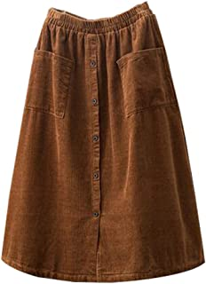 Women's Corduroy Midi Skirt Front Split Buttons Decoration A-Line Dress