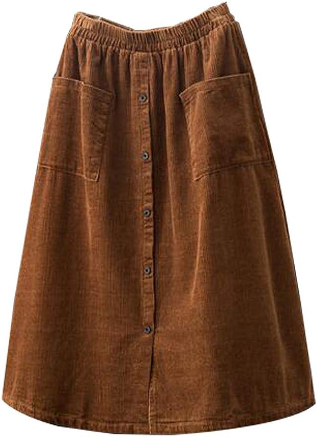 1950s Swing Skirt, Poodle Skirt, Pencil Skirts Minibee Womens Corduroy Midi Skirt Front Split Buttons Decoration A-Line Dress  AT vintagedancer.com
