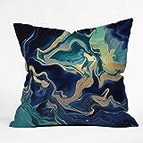 Society6 Monika Strigel Dramaqueen - Gold Indigo Marble Throw Pillow, 16'x16', Multi