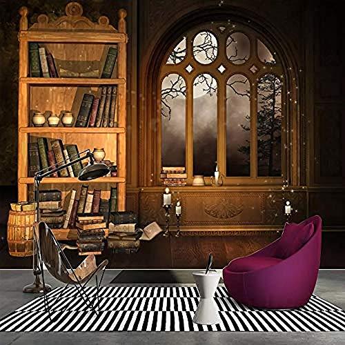 XHXI Estilo europeo Vintage Ventana falsa Estantería Libro Impresión de arte en HD Póster fotográfic Pared Pintado Papel tapiz 3D Decoración dormitorio Fotomural sala sofá pared mural-250cm×170cm