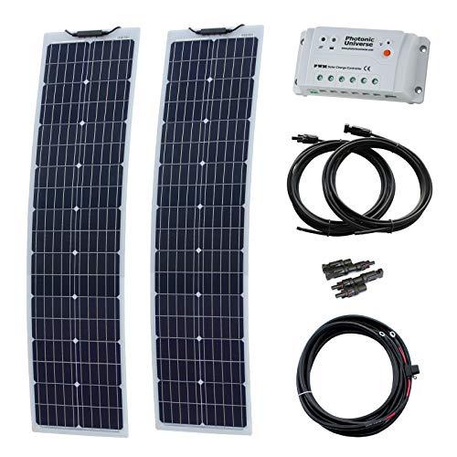 160W (80W + 80W) 12V Aluminium verstärkt schmal Semi-Fflexibel Solarlade-Set (deutsche Solarzellen)