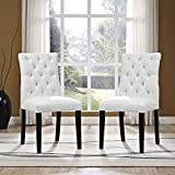Modway Duchess Modern Tufted Button Faux Leather Upholstered Parsons Two Dining Chairs in White