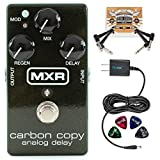 MXR M169 Carbon Copy Analog Delay Pedal Bundle with Blucoil Slim 9V 670mA Power Supply AC Adapter, 2-Pack of Pedal Patch Cables, and 4-Pack of Celluloid Guitar Picks