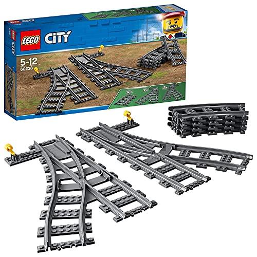 LEGO 60238 City Lesaiguillages, Ensemble d'accessoires d'extension Switch Tracks, 6 pièces