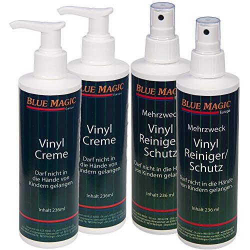 2 x Blue Magic Vinylreiniger mit Zersteuber,2 x Blue Magic Vinylcreme mit Dosierspender