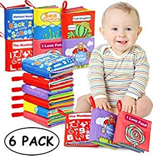 Tencoz Baby Cloth Books, My First Non-Toxic Soft Clothing Books Early Educational Toys Gifts Activity Crinkle Cloth Book f...