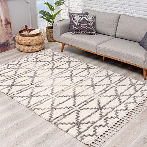 Teppich Hochflor Wohnzimmer - Ethno Skandi Stil 240x340 cm Creme - Teppiche mit Fransen