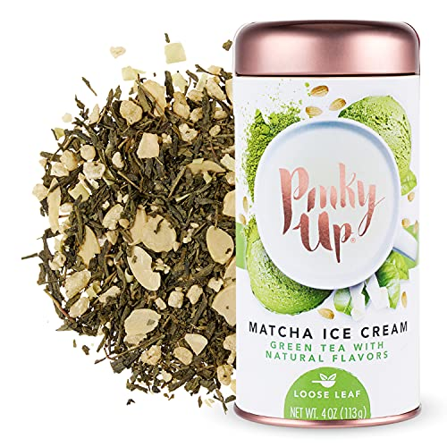 Pinky Up Matcha Ice Cream Tins Loose Leaf Tea, 4 Ounce (Pack of 1), White
