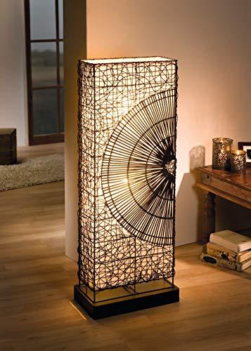Design Stehlampe aus Rattan, Canvas und Metall, 110 cm hoch, Dekoleuchte, Standleuchte, Stehleuchte