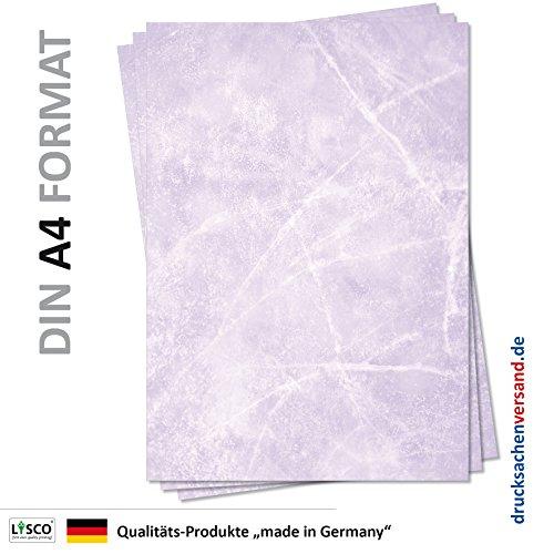 Gastronomie Papier (Violett-Eis-Marmor, DIN A4, 25 Blatt, MPA-5152b) für Speisekarten. Marmoriertes Papier, Marmorpapier rot zweiseitig bedruckt, für alle Drucker/Kopierer geeignet