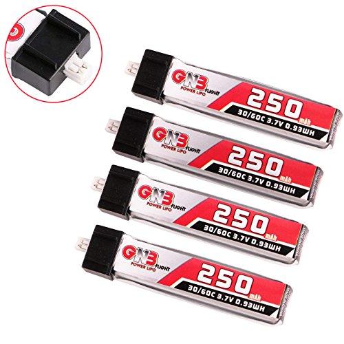 4pcs 250mAh 1S 3.7V 30C Blade Inductrix LiPo Battery Micro JST 1.25 Connector for Kingkong Tiny 6 Tiny Whoop