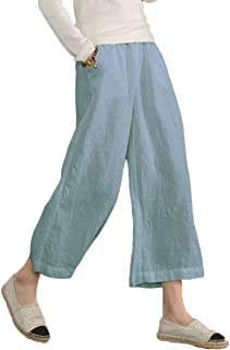 Ecupper Womens Casual Loose 100 Linen Elastic Wasit Ankle Pants Plus Size Cropped Trouses