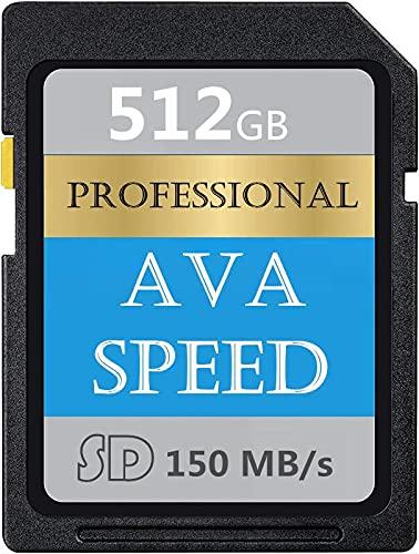Tarjeta de memoria SD profesional de 512 GB, clase 10, SDXC de alta velocidad hasta 150 MB/s para cámaras réflex digitales, cámaras HD y cámaras 3D (512 GB)