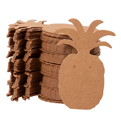 Oorbel Kaarten - 300-Pack Oorbel Kaarthouder Ananas Vorm Kraft Papier Sieraden Display Kaarten voor Oorbellen, Oorstekers, Bruin, 1.75 x 2.5 Inch
