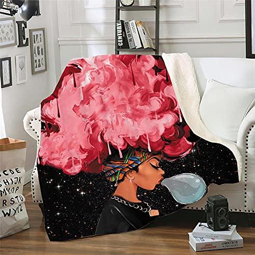 Microfibra Sofá de La Manta Cielo Estrellado, Niña Rosa 3D Manta Estampado Caliente Suave para Ropa de Cama, Sofá, Camping, Viajar Mantas 150X200Cm