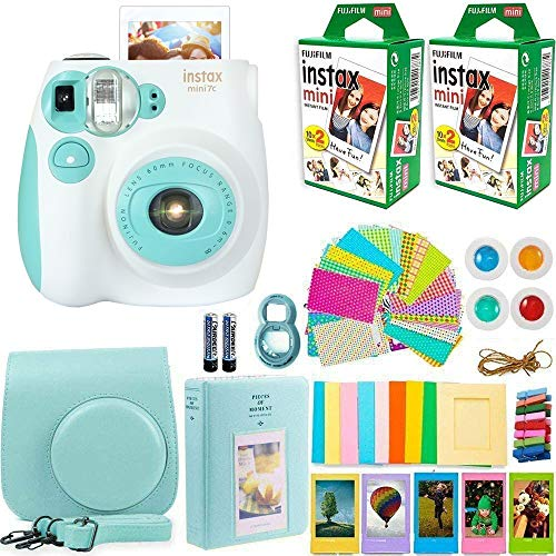 FujiFilm Instax Mini 7 Instant Camera + Fuji Instax Film (40 Sheets) + DEALS NUMBER ONE Accessories Bundle - Carrying Case, Color Filters, Photo Album, Stickers, Selfie Lens + More (ICE Blue)