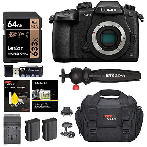 Panasonic LUMIX GH5 4K Digital Camera, 20.3 Megapixel Mirrorless Camera with Digital Live MOS Sensor, 5-Axis Dual I.S. 2.0, 4K 4:2:2 10-Bit Video, Full-Size HDMI Out, 3.2-Inch LCD, DC-GH5 (Black)