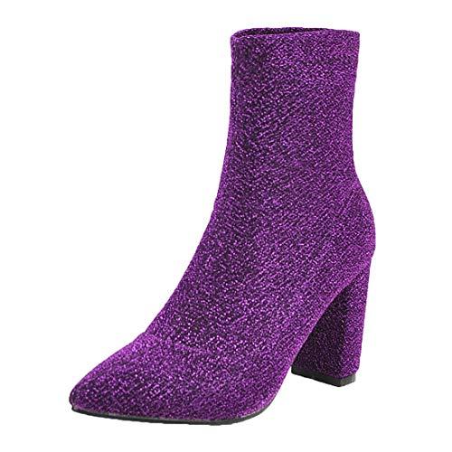 MISSUIT Damen Spitze Ankle Boots Blockabsatz High Heels Stiefel Stretch Stiefeletten Ohne Verschluss Schuhe(Lila,41)