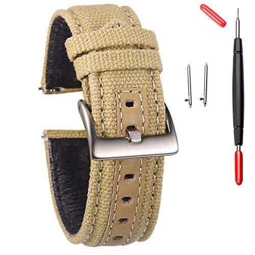Hemsut correas de reloj de lona, correa de reloj de liberación rápida, bandas de repuesto de tela para hombres y mujeres, elección de 18 mm, 20 mm, 22 mm, 24 mm, negro, azul y verde caqui