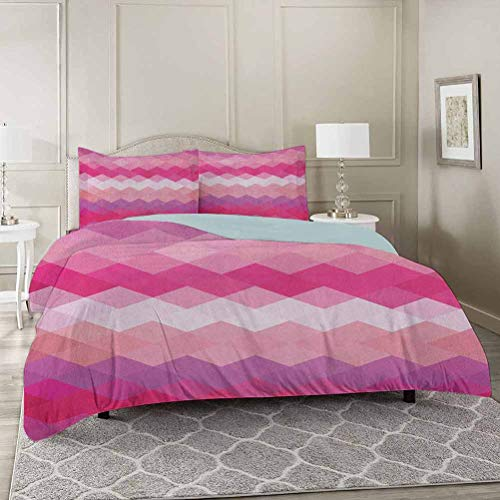 YUAZHOQI Hot Pink Washed Duvet Cover Set with Zipper Closure Queen, Classical Simple Modern Design with Vibrant Colored Diamond Line Pattern Ultra Soft Hypoallergenic Comforter Cover Sets